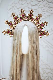 Ozdoby do vlasov - Zlato ružová Halo crown s filigránmi - 12166825_
