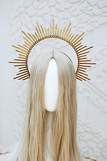Ozdoby do vlasov - Zlatá Halo crown - 12166831_