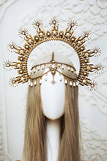Ozdoby do vlasov - Zlatá Halo crown s bielymi perličkami - 12166840_