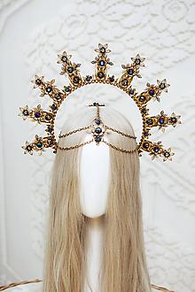 Ozdoby do vlasov - Zlatá Halo crown s čiernymi perličkami - 12166851_
