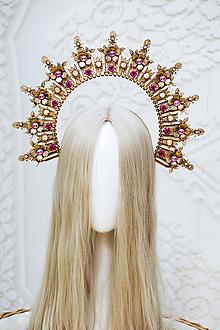Ozdoby do vlasov - Zlato ružová Halo crown s filigránmi - 12166873_