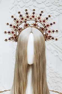 Ozdoby do vlasov - Zlatá Halo crown s červenými perličkami - 12166880_