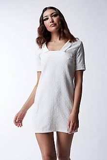 Šaty - Žakarové biele šaty - 12165531_