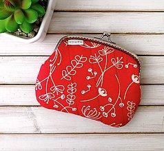 Peňaženky - Peňaženka XL Biele kvety na červenej - 12164674_