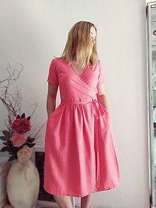 Šaty - Zavinovacie šaty z ľanu - 12164597_
