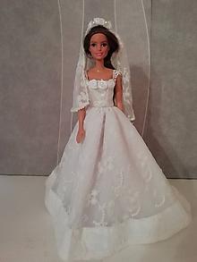 Hračky - Svadobné šaty so závojom pre bábiku Barbie - 12169668_