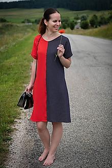 Šaty - Červeno-čierne úpletové šaty - 12169082_