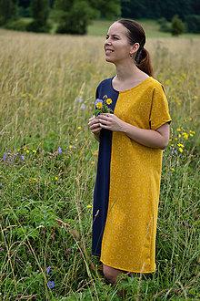 Šaty - Modro-žlté úpletové šaty - 12169122_