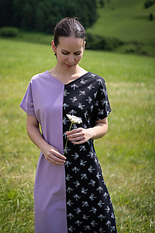 Šaty - Fialovo-čierne úpletové šaty - 12169454_