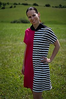 Šaty - Úpletové šaty ružovo-čierno-biele - 12169463_