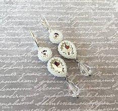 Náušnice - Svadobné náušnice zo šatónov a brúsenej kvapky - 12169213_