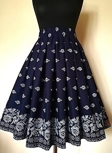 """Sukne - Folk skladaná sukňa s vreckami -bordúra """"modrotlač"""" aj iné farby - 12168741_"""