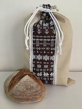 Úžitkový textil - Podšité ľanové vrecko s folklórnym vzorom - 12167587_