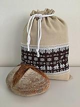Úžitkový textil - Podšité ľanové vrecko s folklórnym vzorom (horizontálne) - 12167592_