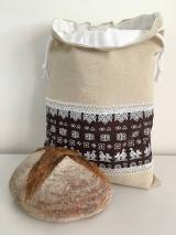 Úžitkový textil - Podšité ľanové vrecko s folklórnym vzorom (horizontálne) - 12167593_