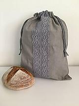 Úžitkový textil - Podšité ľanové vrecko s bavlnenou krajkou - 12167623_