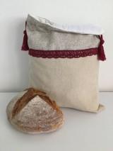 Úžitkový textil - Podšité ľanové vrecko s bavlnenou krajkou - 12167637_