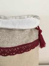 Úžitkový textil - Podšité ľanové vrecko s bavlnenou krajkou - 12167641_