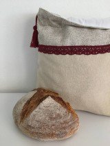 Úžitkový textil - Podšité ľanové vrecko s bavlnenou krajkou - 12167643_