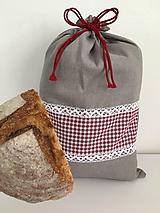 Úžitkový textil - Podšité ľanové vrecko s károvaným vzorom - 12167666_