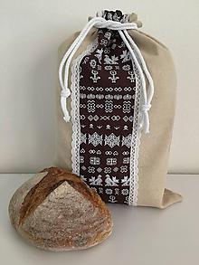 Úžitkový textil - Podšité ľanové vrecko s folklórnym vzorom (vertikálne) - 12167587_