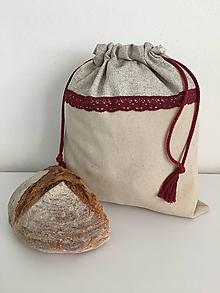 Úžitkový textil - Podšité ľanové vrecko s bavlnenou krajkou - 12167636_