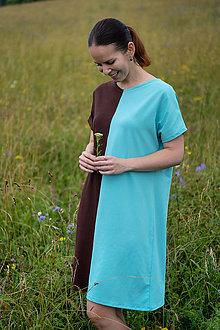 Šaty - Tyrkysovo-hnedé úpletové šaty ZĽAVA - 12172043_