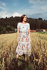 Sukne - Ľanová kvetinová zavinovacia sukňa-MAGDALÉNA - 12172614_