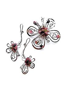Sady šperkov - Sada šperkov, brošňa a náušnice s turmalínem rubelitem - 12171940_