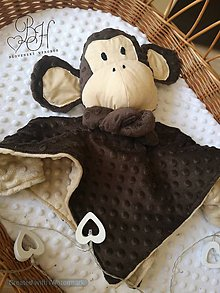 Hračky - Mojkacik opica hnedo béžová - 12169892_