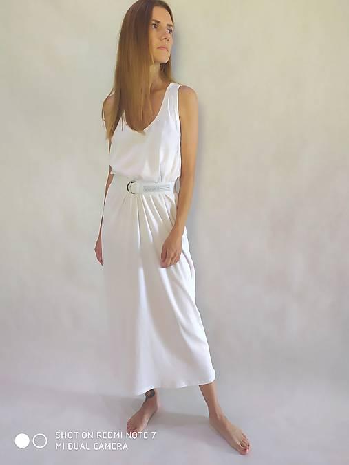 Šaty - Biele oversize midi šaty - 12172080_