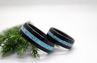 Prstene - Ebenové obrúčky s tyrkysom - 12173481_