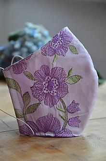 Rúška - Rúško na tvár fialová lúka - 12175638_