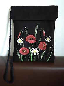 Kabelky - Taška cross body lúčne kvety (čierna) - 12173609_