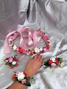 Opasky - Nežný kvetinový set, opasok, náramok, hrebeň a spona - 12173251_