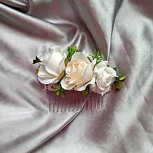 Ozdoby do vlasov - Svadobný béžovo- biely hrebienok - 12174888_