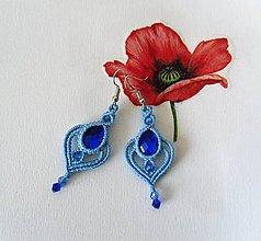 Náušnice - Macramé náušnice Blue - 12173777_