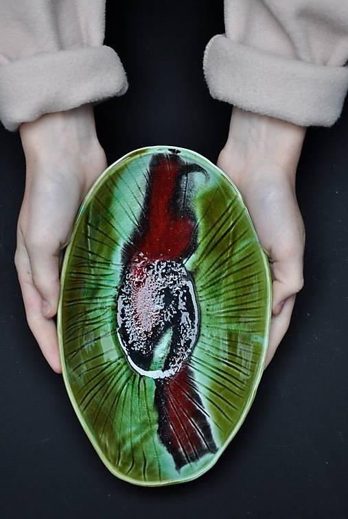 miska oval zeleno-červená podlhovastá