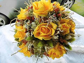 Dekorácie - Žltá kytica - 12178636_