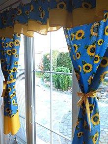 Úžitkový textil - Závesy slnečnice v modrom - 12178713_