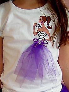 Detské oblečenie - Maľované tričko pre dievčatko - 12176706_