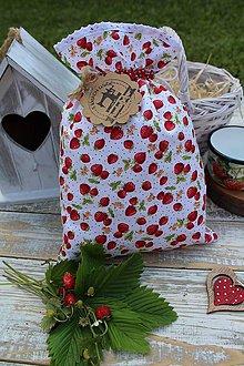 Úžitkový textil - Jahodové vrecúško - 12177553_