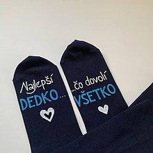 """Obuv - Maľované ponožky s nápisom: """"Najlepší dedko, čo dovolí všetko"""" (tmavomodré 1) - 12176189_"""