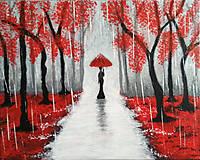 Obrazy - Prechádzka v daždi 50x40 cm, abstraktný obraz - 12177113_