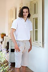 Oblečenie - Ľanová košeľa Mojmír s krátkym rukávom - 12179727_
