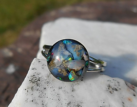 Prstene - ring with happy stone-opals - 12178905_
