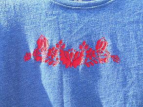 Tričká - blue and red folk-tričko - 12178937_