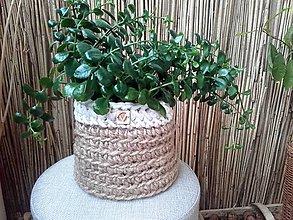 Košíky - Košík kvetináč prírodný jutový s pevným dnom - 12180050_
