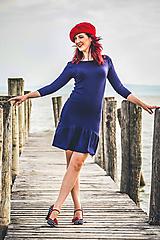 Šaty - Bambusové šaty modré s volánom Klára  - 12180917_