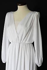 Šaty - Svadobné šaty v páse na gumičku s dlhou vlečkou - 12181094_